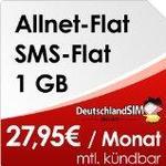 Drillisch Online AG DeutschlandSIM Flat M [SIM und Micro/SIM] monatlich kündbar (1GB Daten/Flat, Telefonie/Flat, SMS/Flat, 27,95 Euro/Monat) Vodafone/Netz